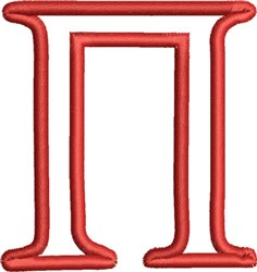 Greek Font Pi embroidery design