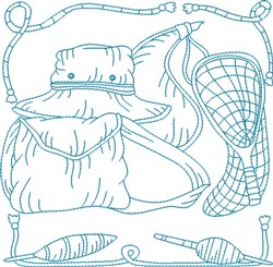 Bluework Fishing Tools embroidery design