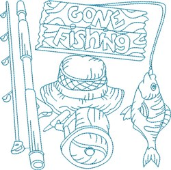 Bluework Gone Fishing embroidery design