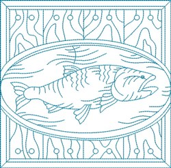 Bluework Fish Block embroidery design
