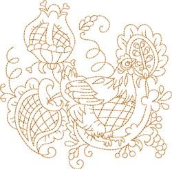 Chicken Quilt Block embroidery design