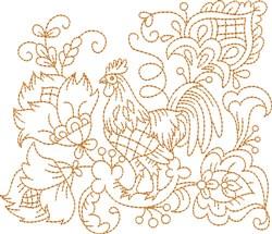 Quilt Block Hen embroidery design
