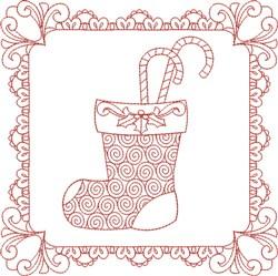 Christmas Stocking Block embroidery design