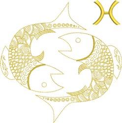 Pisces Zodiac Quilt Block embroidery design