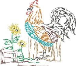 Rooster Quilt Block embroidery design
