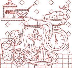 Vintage Kitchen Quilt Block embroidery design