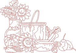 Vintage Fall Sunfllowers embroidery design