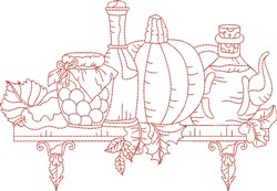 Vintage Fall Kitchen Shelf embroidery design