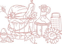 Vintage Fall Pumpkin Pail embroidery design