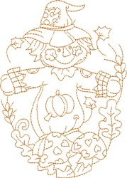 Scarecrow Oval embroidery design