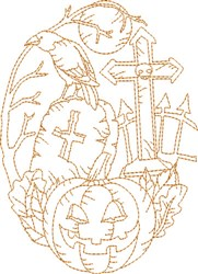 Halloween Graveyard embroidery design