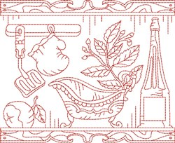 Christmas Kitchen Quilt Block embroidery design
