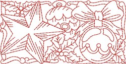 Christmas Ornament Redwork Border  embroidery design