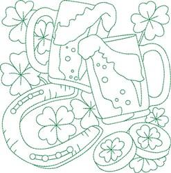 Irish Beer Block embroidery design