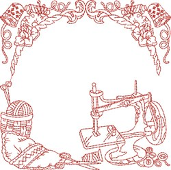 Redwork Sewing Quilt Block embroidery design