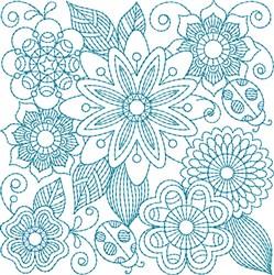 Bluework Floral Quilt Block embroidery design