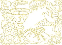 Religous Bread & Wine embroidery design