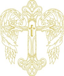 Winged Christian Cross embroidery design