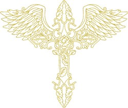Winged Flying Cross embroidery design