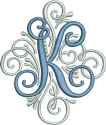 Adorn Monogram K embroidery design