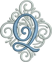 Adorn Monogram Q embroidery design