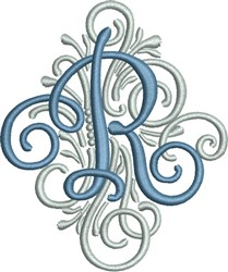 Adorn Monogram R embroidery design