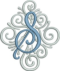 Adorn Monogram S embroidery design