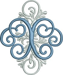 Adorn Monogram X embroidery design