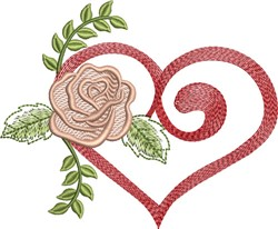 Valentine Rose embroidery design