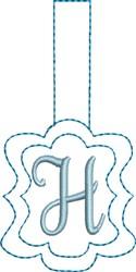 Monogrammed Keyfob Letter H embroidery design