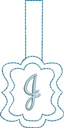 Monogrammed Keyfob Letter J embroidery design