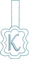 Monogrammed Keyfob Letter K embroidery design
