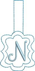 Monogrammed Keyfob Letter N embroidery design