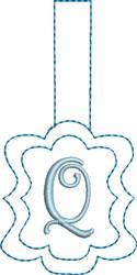 Monogrammed Keyfob Letter Q embroidery design