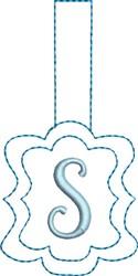 Monogrammed Keyfob Letter S embroidery design