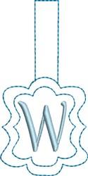 Monogrammed Keyfob Letter W embroidery design