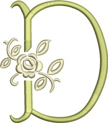 Tuscan Rose Monogram D embroidery design