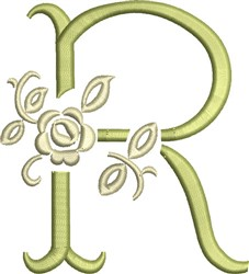 Tuscan Rose Monogram R embroidery design