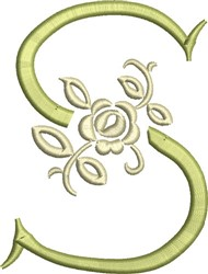 Tuscan Rose Monogram S embroidery design