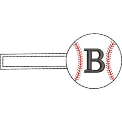Baseball Key Fob B embroidery design
