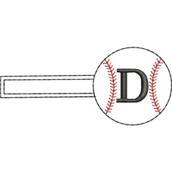 Baseball Key Fob D embroidery design