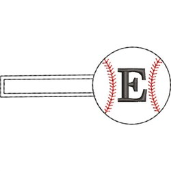 Baseball Key Fob E embroidery design
