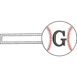 Baseball Key Fob G embroidery design