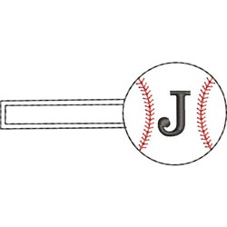 Baseball Key Fob J embroidery design