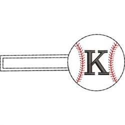 Baseball Key Fob K embroidery design