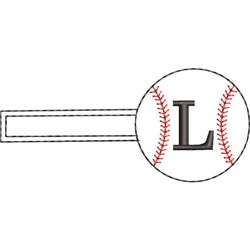 Baseball Key Fob L embroidery design