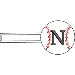 Baseball Key Fob N embroidery design