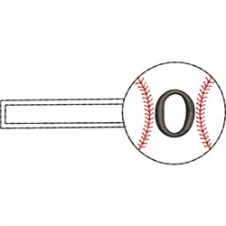 Baseball Key Fob O embroidery design