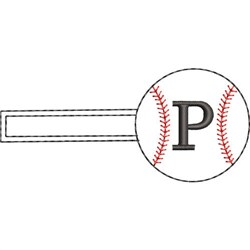 Baseball Key Fob P embroidery design