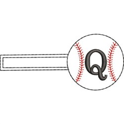 Baseball Key Fob Q embroidery design